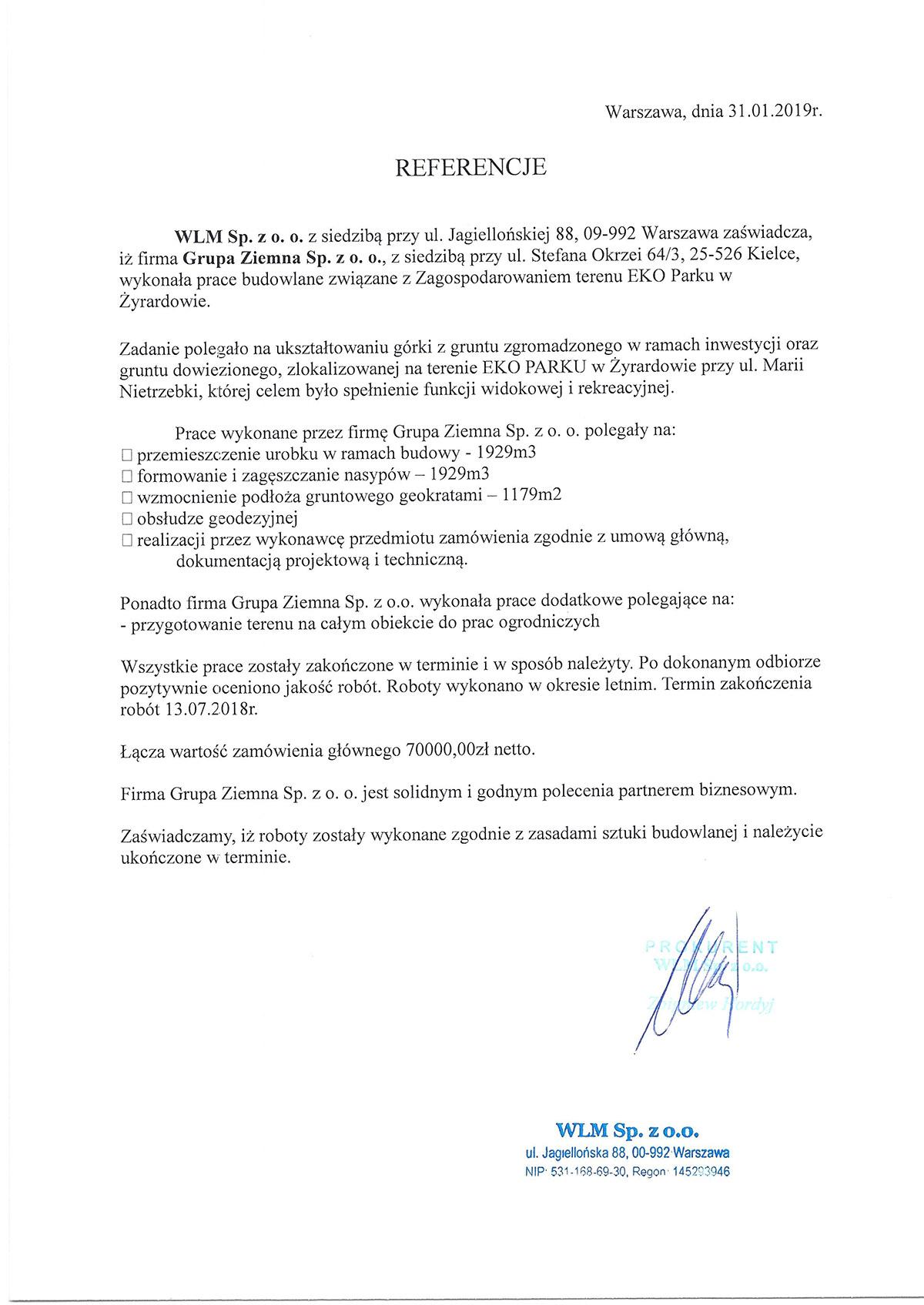 PRACE BUDOWLANE EKO PARK W ŻYRARDOWIE - WLM Sp. z o.o.
