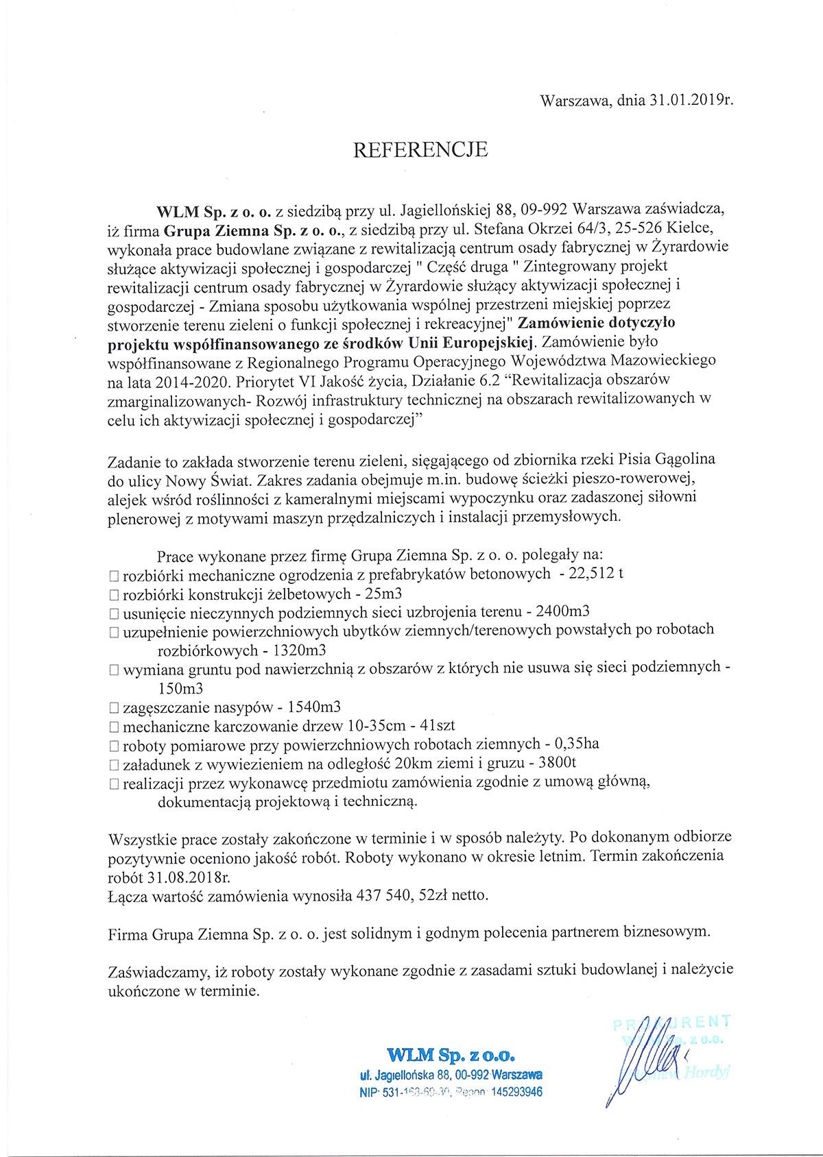 REWITALIZACJA CENTRUM OSADY FABRYCZNEJ W ŻYRARDOWIE - WLM Sp. z o.o.